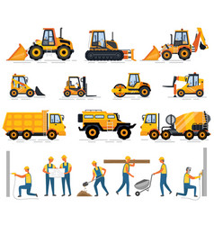 Machine and workers construction equipment set vector