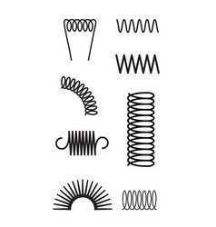 Metal spring set spiral coil flexible icon wire vector