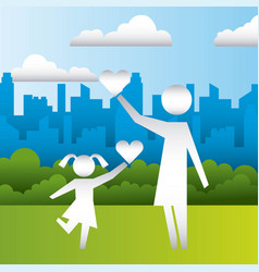 mom and daughter hearts family protection vector image