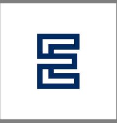 mono line e letter logo vector image