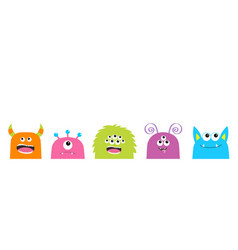 Monster face set cute cartoon scary funny vector