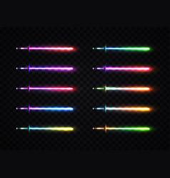 Neon light gradient swords set vector