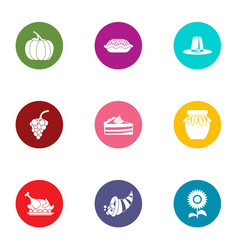 Nourishment icons set flat style vector