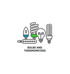old bulbs and thermometers recycle concept icon in vector image