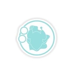 Paper sticker on white background chicken dish vector