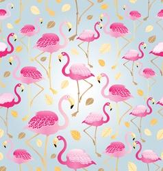 pattern bright pink flamingos vector image