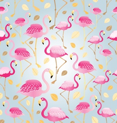 pattern of bright pink flamingos vector image