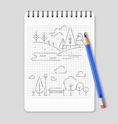 pencil drawing nature landscape outline vector image