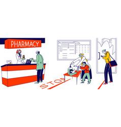 People visiting pharmacy during coronavirus vector