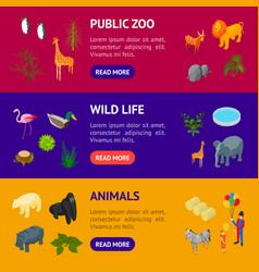 public zoo banner horizontal set concept 3d vector image