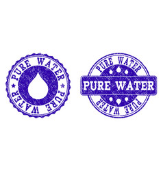 pure water grunge stamp seals vector image