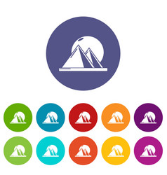 Pyramid egypt icons set color vector
