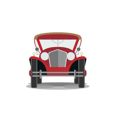 Retro red car on a white background front view vector