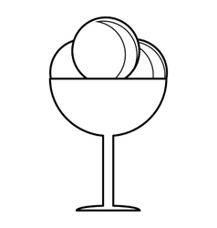 Round balls of ice cream in cup icon vector