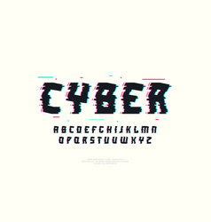 Sans serif font with glitch distortion effect vector