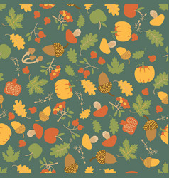 seasonal autumn floral seamless pattern vector image