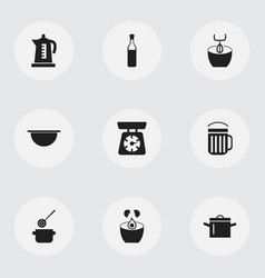 set of 9 editable kitchen icons includes symbols vector image