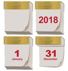 Set tear off calendar 2018 vector