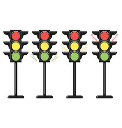 set traffic lights icons flat design style vector image