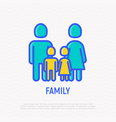 silhouette family man woman and two children vector image