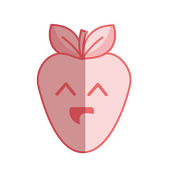 Silhouette kawaii nice happy strawberry icon vector