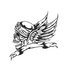 skull at helmet and wings on the background vector image