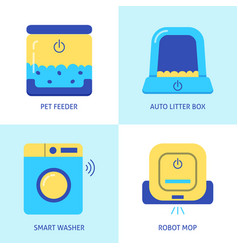Smart house gadgets icon set in flat style vector