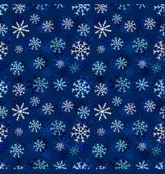 snowflakes seamless pattern winter dark vector image