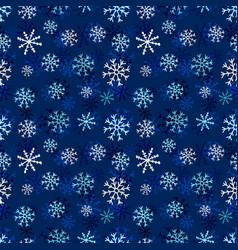 snowflakes seamless pattern winter dark vector image