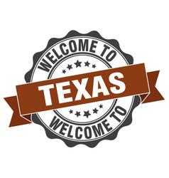 Texas round ribbon seal vector