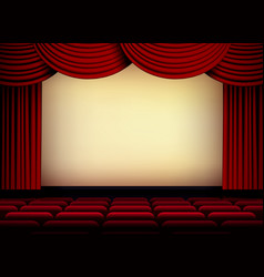 Theater or cinema auditorium screen with red vector