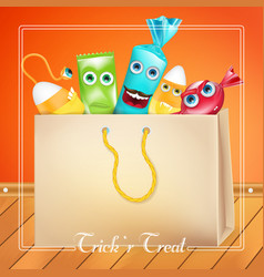 Trick or treat halloween bag with candies monsters vector