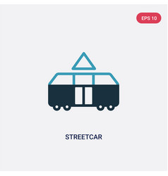 Two color streetcar icon from transport concept vector