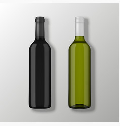 Two realistic wine bottles in top view vector