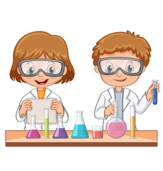 Two students do science experiment vector