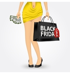 unrecognizable woman with shopping bag vector image vector image