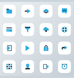user icons colored set with play stopwatch vector image