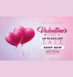 valentines day sale design with red heart balloon vector image