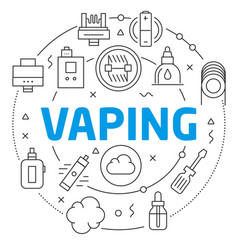 vaping linear vector image
