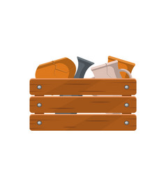 Various pottery in wooden box icon vector