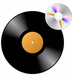 vinyl record with cd vector image