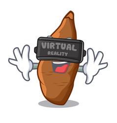 Virtual reality ripe cassava on the cartoon table vector