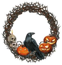 Watercolor halloween wreath with crow skulls vector