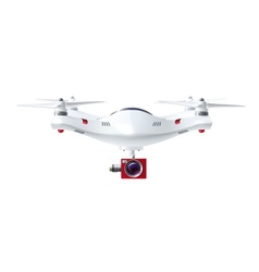 White Drone With Red Camera vector