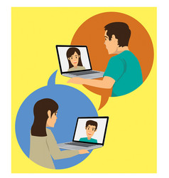 Wife video call with husband vector