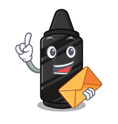 with envelope black crayon in character shape vector image