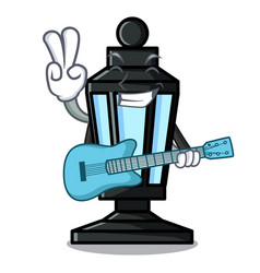With guitar street lamp mascot cartoon vector