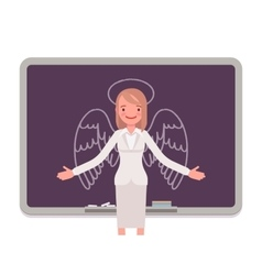 Woman against the blackboard with drawn angel vector image