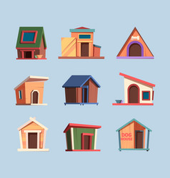 wooden place for dogs domestic puppy house living vector image