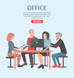 workers project discussion in office vector image